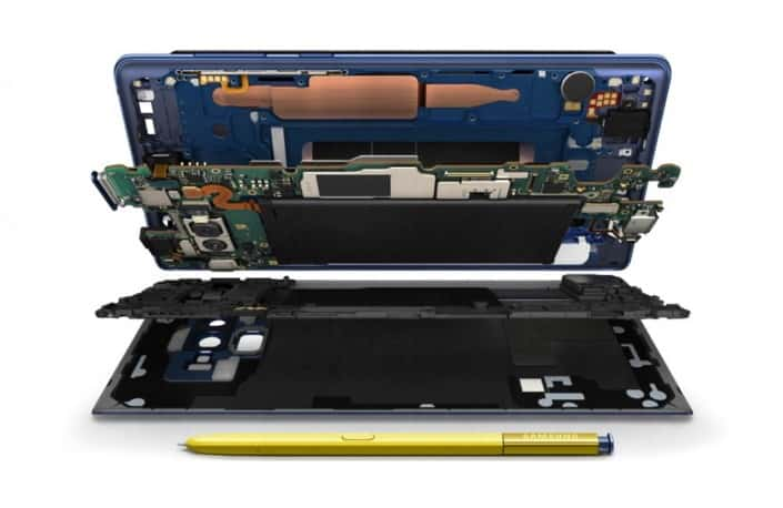 Section view of the Samsung Note 9